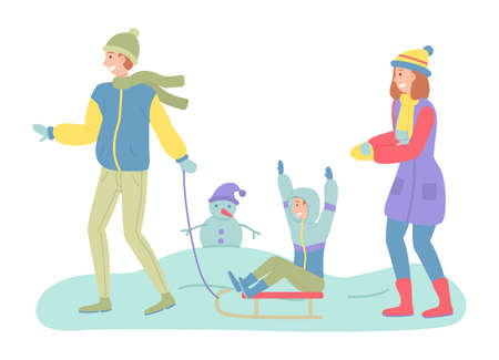 Father, mother and son on a winter walk. Man sledding a child. Family members walking together in cold weather outdoor, happy joint weekend, dad with boy ride on sleigh have fun in a snowy park