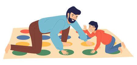 Father and son playing twister at floor, people spend time together, parent and kid playing indoor game. Cartoon isolated characters in flat style. Happy dad and son, home activity, people have fun