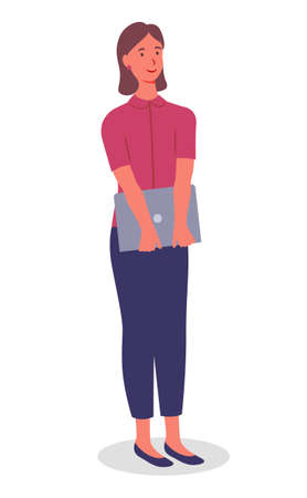 Young pretty girl in blue trousers, fuchsia blouse, with laptop in her hands. Girl with short haircut, red earring stands and smiles. Employees, colleagues or office staff. Communicate and work