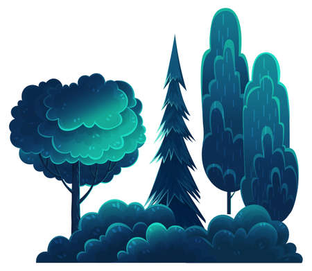 Deciduous and coniferous tall trees, navy blue crown, flat cartoon style isolated on white. Forest trees, lush foliage. Oak, spruce, hornbeam, diverse vegetation. Botanical illustration for sites