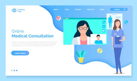 Landing page of medical website. Online medical consultation, support, medical help. Consultation with doctor through videocall. Remotely assistance, medical help. Diagnosis of patient concept