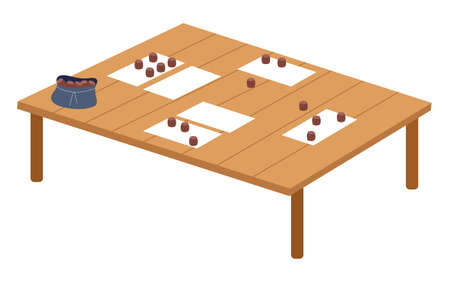 Table bingo game with cards, playing barrels at coffee table, playing interesting table game. Logic game, training brain, leisure, hobby, recreation, fun time. Isolated cartoon flat illustration