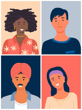 International people avatars, mix races young guys and girls, diverse nations, ethnicity, pretty afro-american woman, smiling guy, adult man with mustache in turban, cute young girl with accessories