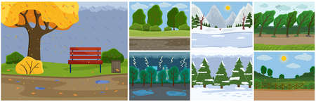 Set of seasons images . Autumn time, rain, slush, puddles, wet bench in park. Spring or summer warm season, green spaces, meadow, flowers. Thunderstorm, storm, lightning. Winter snow white landscape