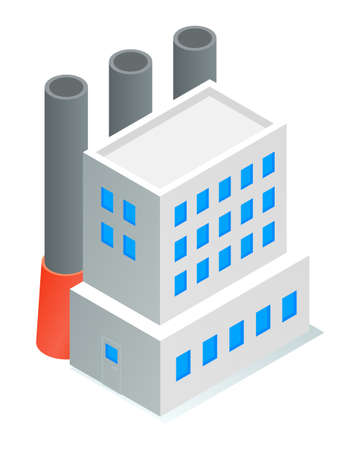 Isometric image of oil refinery factory. Industrial refinery. Petroleum facility. White tall building with blue windows, large tall black pipes. Petroleum production. Flat vector illustration on white 向量圖像