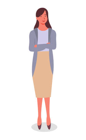 Young black-haired smiling girl in long narrow cream skirt, blue blouse, arms crossed on her chest. Woman an office employee, manager or businesswoman is standing, falling shadow. Flat vector image 일러스트