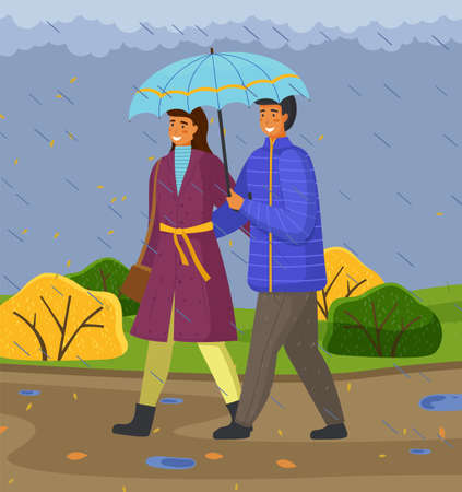 Autumn, couple of happy girl and guy with umbrella hugging walking in park under rain, young adult people enjoy of rainy weather, outdoors activity, gloomy, overcast cloudy day, leisure outdoors