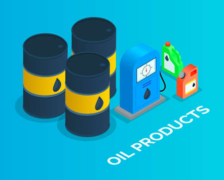Iron barrels of oil, canisters for the combustible products storage. Isometric image of iron oil barrels, blue gas station, multi-colored canisters. Service petroleum station, combustible materials 向量圖像