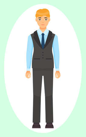 Isolated cartoon character businessman wearing stylish coat, vest and trousers, blue tie. Man in blue shirt. Business person style. Dresscode of office worker. Blond-haired guy, cloth element
