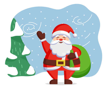 Santa Claus stand in winter forest, fir tree covered by snow. Traditional christmas holiday character. Person in red clothes with xmas green sack with presents. Vector illustration in flat style