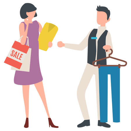 Consultant helping woman to choose trousers vector, isolated people in shop. Shopping female holding bag with sale sign and tshirt, shop fashion advice Ilustração