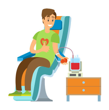 Man volunteer transfusing blood in volume, person sitting with needle and tube equipment, male donation for illness, charity and healthcare vector