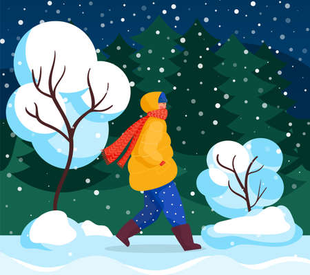 Character walk in winter, forest landscape and snowfall vector. Trees covered in snow, people walking home at night. Seasonal weather, snowflakes falling down, human in coat and scarf illustration