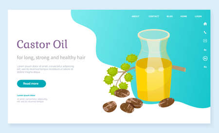 Castor oil info poster, jar with poured oily essence from seeds of ecological element for cosmetics. Hair growth and treatment, skincare and body care. Container with lotion for massage, vector Vectores