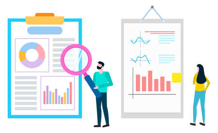 Worker with magnifier investigating statistical analysis and data, vector brokers collaboration, agents analyzing sales of goods. Cartoon people near boards Ilustrace