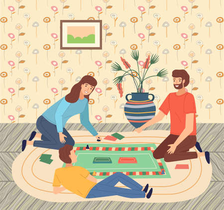 Father, mother, son teenager playing monopoly at floor, people spend time together. Parents and kid playing indoor game at home. Happy family, home activity, people have fun. Cartoon characters