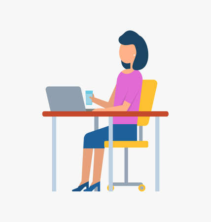 Woman sitting at table holding cup and using laptop, workplace and employee, portrait view of female working with wireless device, technology vector