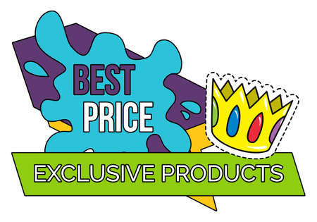 Best price on exclusive products isolated label splashes and geometric figures, royal crown patch. Vector illustration of sale stickers, super discounts stamps. Clearance deal, price reduction on rare Illusztráció
