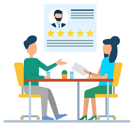 Man and woman sitting at desktop and discussing, resume of employee with stars. Professional qualities, interview symbol, people communication vector