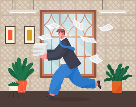 Office worker holding stack of documents running in office. Unorganized man in panic of paperwork. Worker failure deadline, stressing, busy. Employee hurry. Vector cartoon character with flying papers