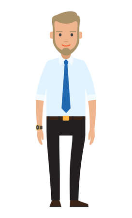 Smiling man bearded businessman dressed in a shirt with tie standing at full height isolated on white background. Businessperson blond male character in formal clothes office worker or employee