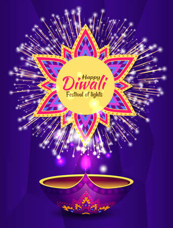 Diwali festival holiday postcard decorated by fireworks. Design card with salute and glowing lamp symbol on purple background. Indian Rangoli and hanging diya lights in round shape vector