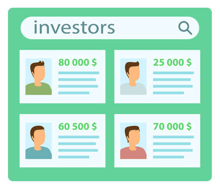 Investor list presentation poster vector illustration. Several candidates willing to invest in a business. Profiles of businessmen with photos and money. Business management and financial analysis Ilustración de vector