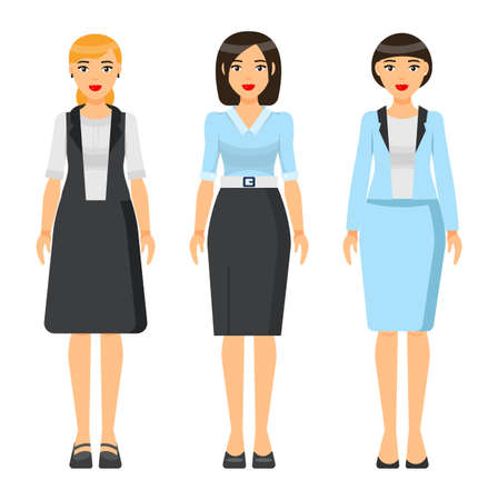 Set of vector chartoon characters. Dresscode of businesswoman. Woman wearing blue office suit, jacket and skirt. Girl wearing dress. Stylish business lady in blouse and skirt. Business person style Vektorgrafik