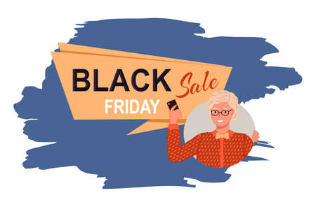 Black friday concept vector. Sale banner with beautiful woman in glasses holding phone in her hand. Discount poster template. Big sale special offer. End of season special proposition banner