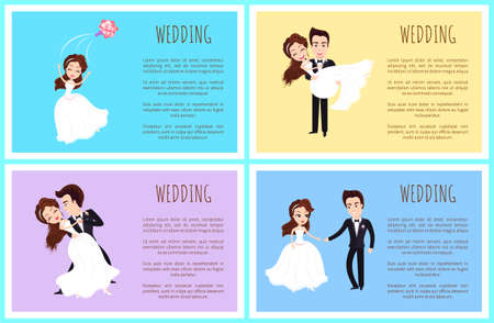 Wedding day vector, bride dancing with groom newlywed couple in love, poster with text info. Man and woman cuddling, female throwing bouquet tradition