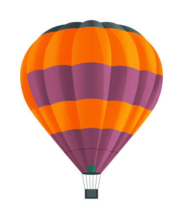 Colorful Hot air balloon isolated on white background vector illustration. Aircraft used to fly gas. Ballon consists of gas burner, a shell and a basket for carrying passengers, Romantic flight travel Ilustrace