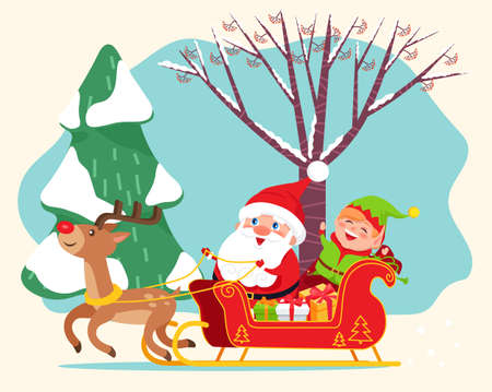 Santa Claus riding sleigh with reindeer. Happy elf and gift boxes on back on sled. Christmas time, traditional holiday characters. Landscape of wood with snowy trees. Vector illustration in flat style 向量圖像