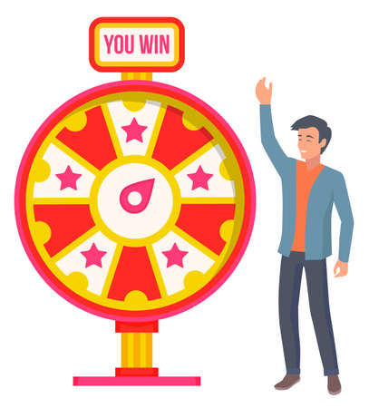 Gambling game winning and losing money playing fortune wheel. Male character spinning circle with stars and pointer. Emotional man winner of prize. Smiling personage gesturing in casino vector