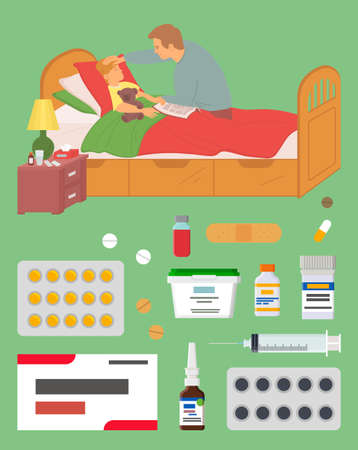 Sick kid in bed vector, father curing son with help of medicine and prescription from doctor, pills and capsules, drops and plastic, bottles with medical