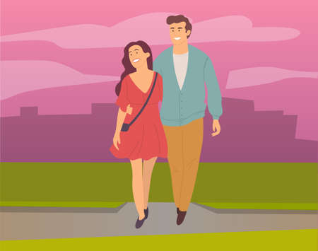 Dating couple outdoor cityscape in the evening time. Young peolpe smiling man and woman hugging walking. Girl with guy, people in love spend time together, relationships between male and female 向量圖像