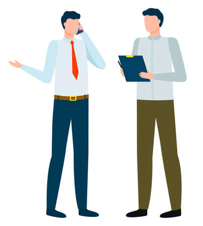 Businessman talking on phone and assistant writing down important info from call. Isolated character wearing formal clothes. Helper of director, manager organizing working day. Vector in flat