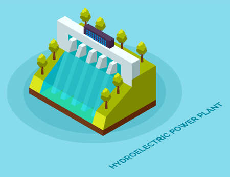 Hydroelectric power plant. Clean energy and electricity concept. Energy electric, alternative hydroelectric, hydro turbine, vector illustration. Water power conversion station with green trees 向量圖像