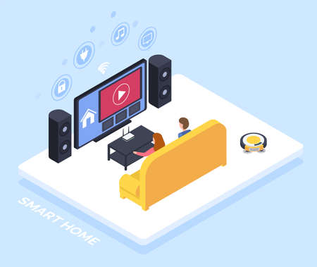 Smart home controlled though TV set, Internet technology, house appliances automation system isometric vector. Electronic device, speakers and media apps on screen.