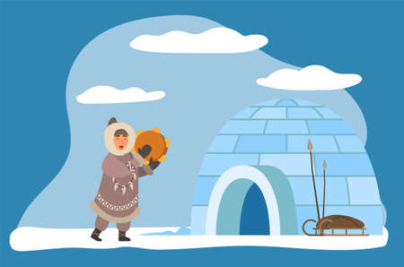 Inuit or eskimos playing musical instrument by igloo ice house. Personage wearing warm traditional clothes. Character by dwelling with sleds and weapon or fishing tools. Vector in flat style