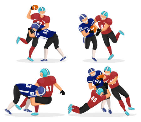 Set of game moments. Footballers playing in american football. Players attack their opponents to get ball. Rivalry of competition. People in uniforms and helmets. Vector illustration of match in flat