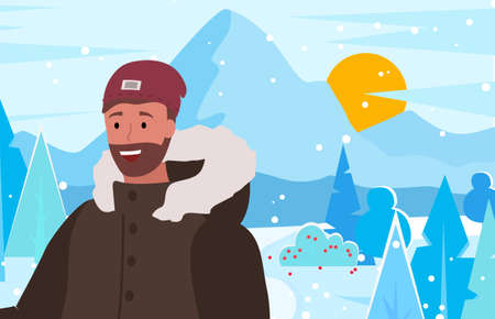 Male wearing warm clothes spending time by mountains in winter. Young personage on vacation in resort, wintry landscape with trees and bushes, foliage and sundown or sunrise. Vector in flat style Ilustração