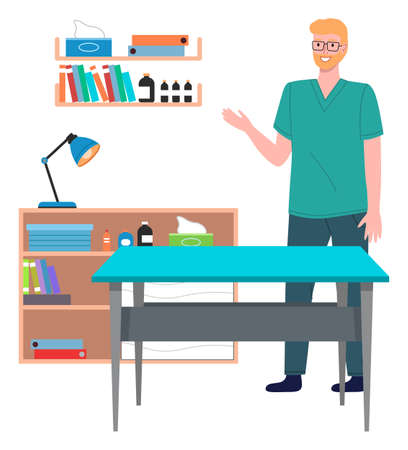 Veterinary care. Veterinarian doctor male character in the medical office. Doctor in a medical room with special equipment, shelves with medicines and books. Smiling man in veterinarian clothes Vector Illustratie