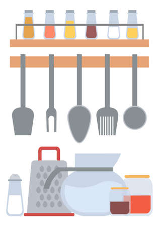 Kitchen tools and instruments vector, flat style spatula and fork, cooking spoon and glass bottles with spices. Cutlery and containers with ingredients