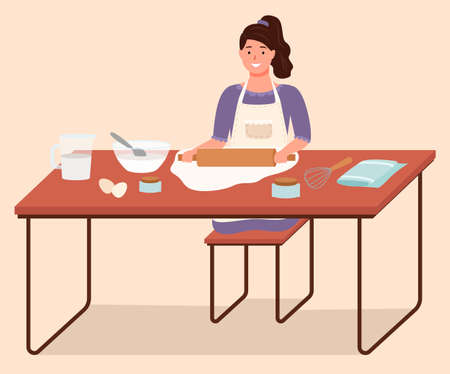 Girl preparing food, using rolling pin to spread dough. Homemade food with organic and natural ingredients. Female character preparing dishes, baking alone. Kitchenware on table vector in flat