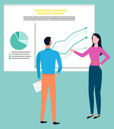 Man and woman discussing business problems, cartoon style people and diagrams, charts. Brokers sell and buy goods, progress and insurance on statistics data