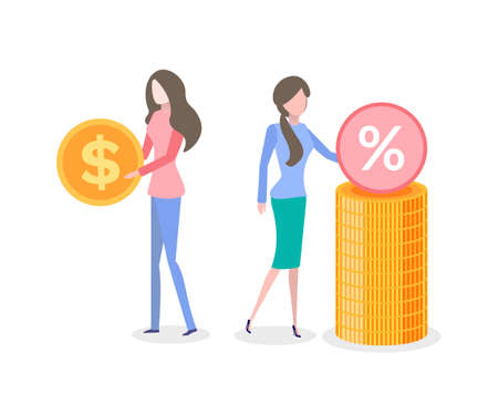 Banking and financial assets vector, woman with money gold coin with dollar sign isolated people dealing with wealth and profit of business project