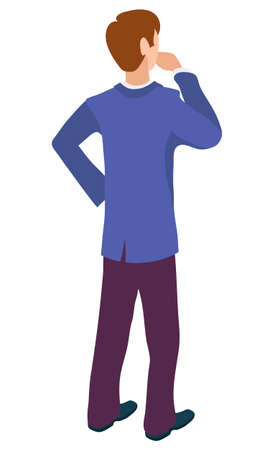 Back view of male character thinking about business education. Vector isolated cartoon style man in blue jacket and trousers, thoughtful manager flat design Illustration