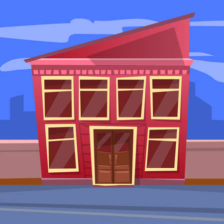 Construction with floors and panoramic windows, shadow of buildings. Restaurant with big glass in red color, cloudy sky, business architecture and dark view, blue skyscrapers, street in city vector 向量圖像