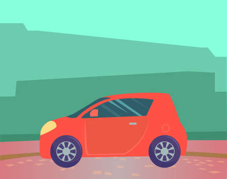 Small red microcar vehicle stand on ground in countryside. Automobile to drive and get your destination quickly. Green abstract background with silhouettes. Vector illustration in flat style 向量圖像