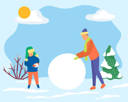 Father and son make big snowball for snowman. Family spend time actively together in forest. Man and kid do outdoor activity on holidays. Winter landscape with fir tree and shrub. Vector illustration 向量圖像